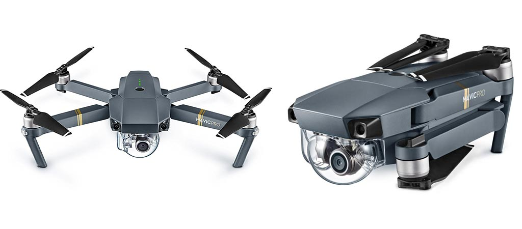 DJI Mavic Pro unfolded and folded