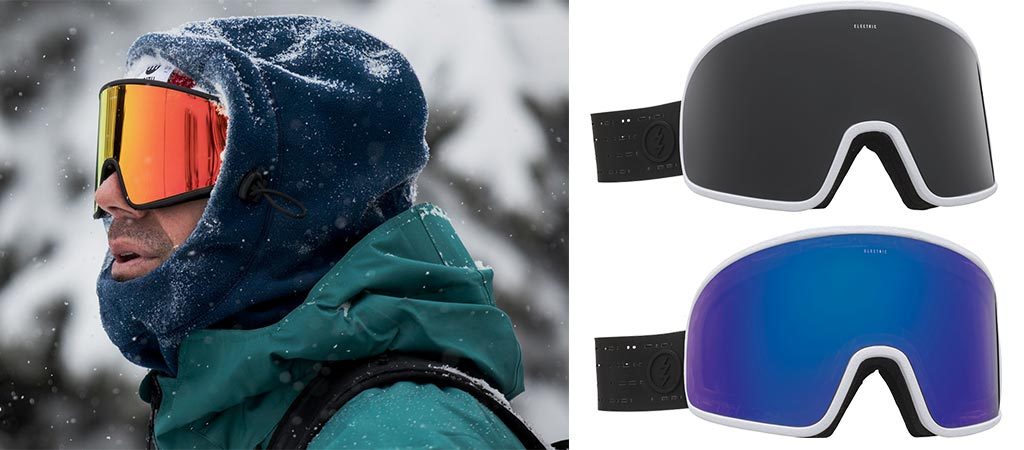 Man wearing the Electrolite Snow Goggles and two different models