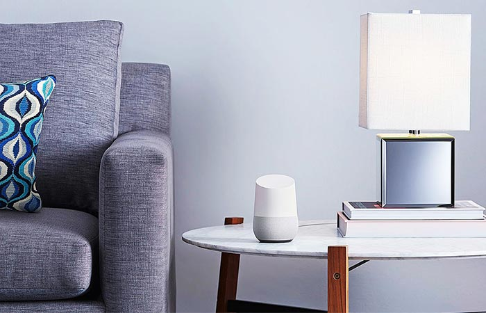 Google Home On A White Coffee Table