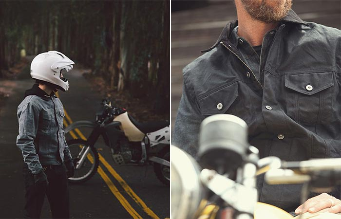 Two Lifestyle Images Of Iron And Resin X Huckberry Rambler Jacket