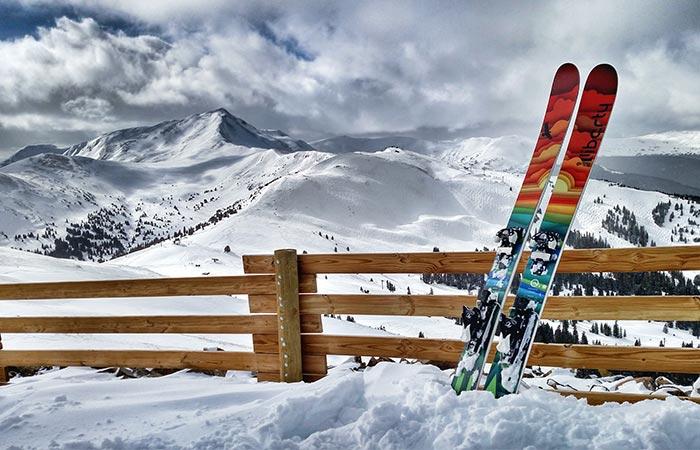 Liberty Origin Skis in a mountainous area