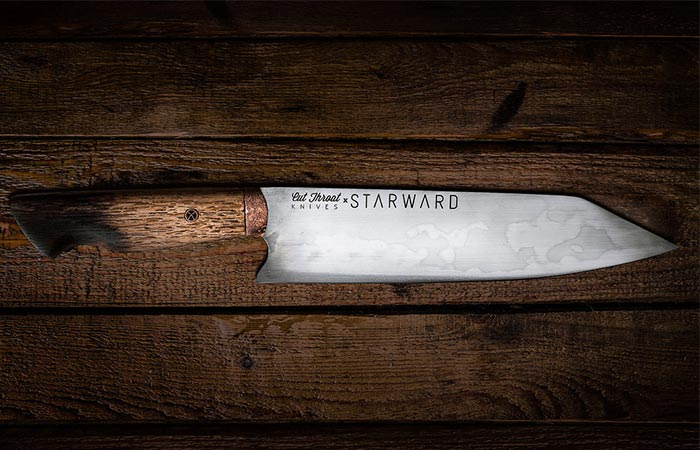 a carbon steel knife from Cut Throat Knives and Starward