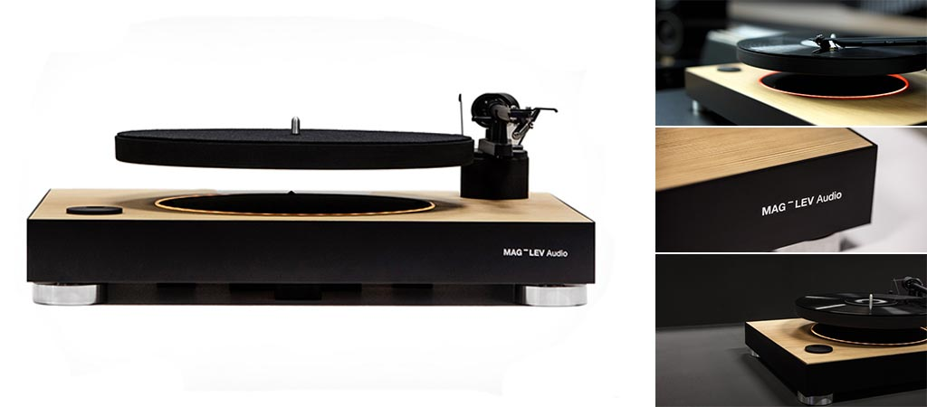 4 different views of the Mag-Lev Audio Turntable