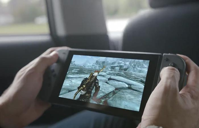 Man playing a game on the Nintendo Switch