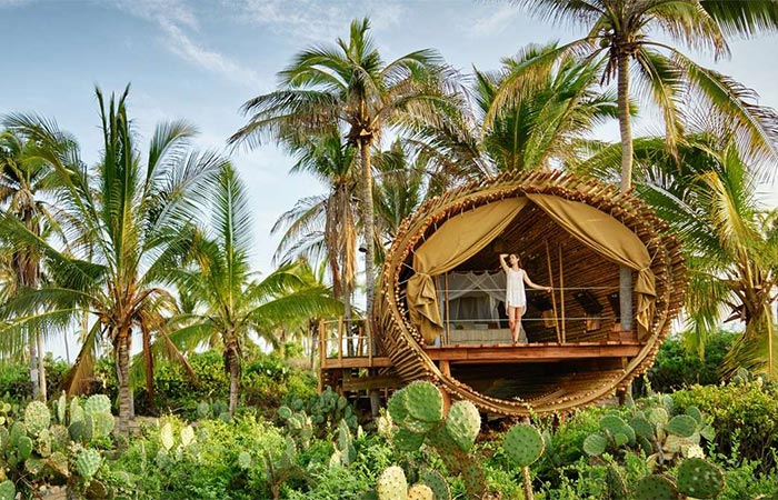 Playa Viva treehouse room view from the front