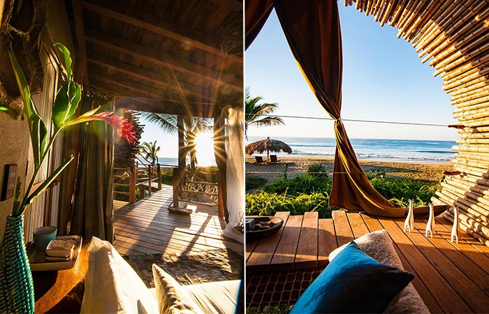 two images of Playa Viva interior details
