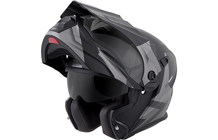 Scorpion EXO-AT950 Motorcycle Helmet with modular chin bar lifted