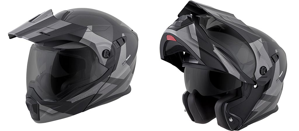Scorpion EXO-AT950 Motorcycle Helmet open and closed