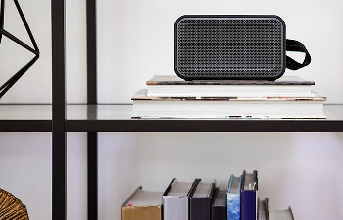 Black Skullcandy Barricade XL speaker on a shelf