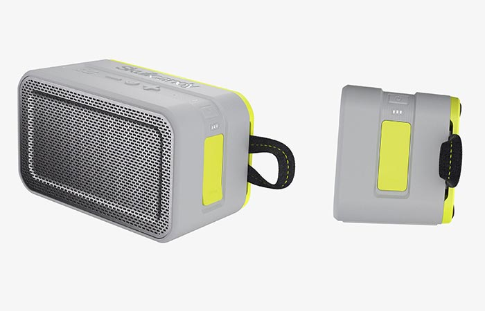 grey Skullcandy Barricade Xspeaker from two angles