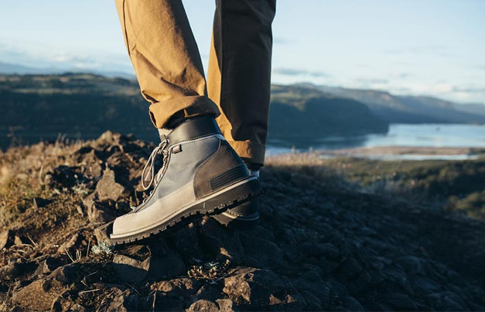 A Guy Wearing The Danner Light Pioneer