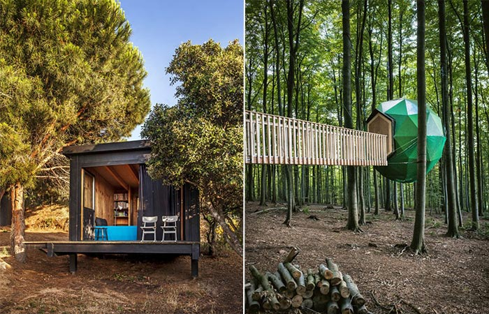 Two images of cabins in the woods