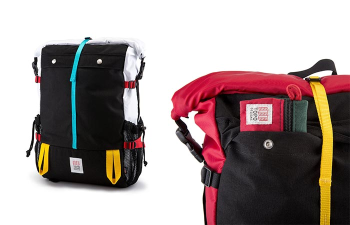 Different Colored Topo Designs Mountain Rolltop Backpacks