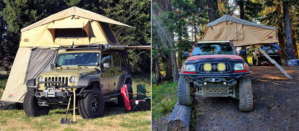 Two different views of the Tuff Stuff Overland on two different vehicles