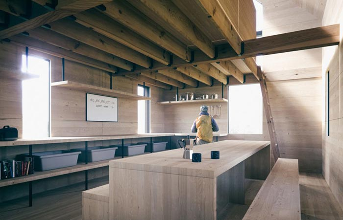 the wooden interior of a modular cabin