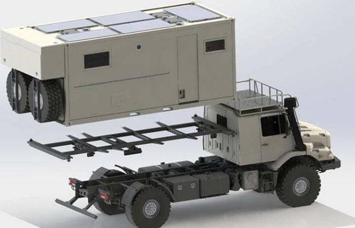 Bliss Mobil Expedition Vehicle fits onto a truck