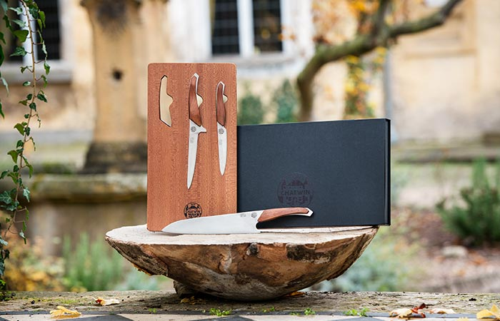 Chatwin Crucial Knife Set with its wooden holder.