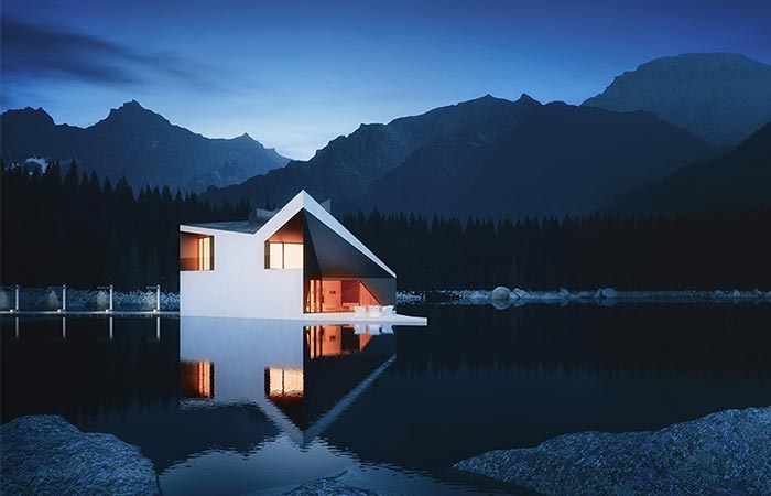 a house on a lake