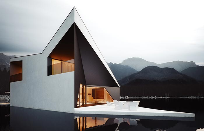 Crown House | A Minimalistic Lake House Project from the side