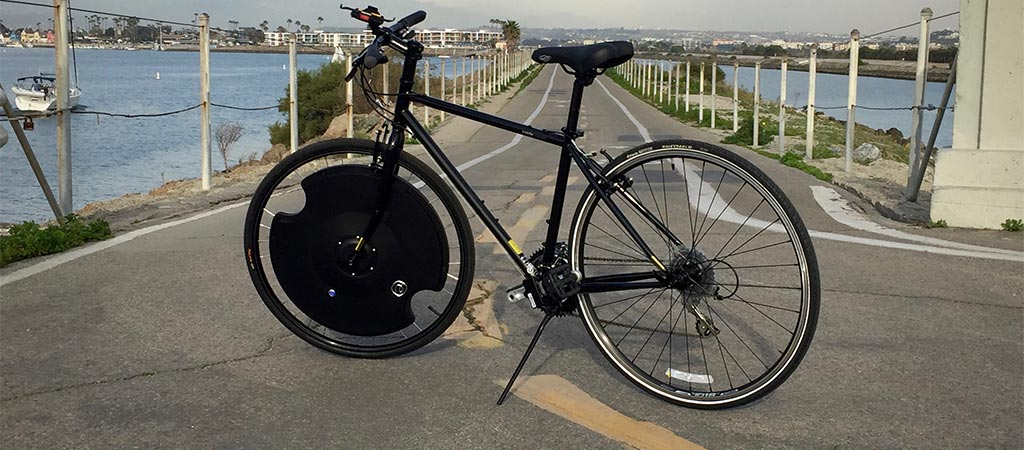 Bicycle with Electron Wheel at Marina