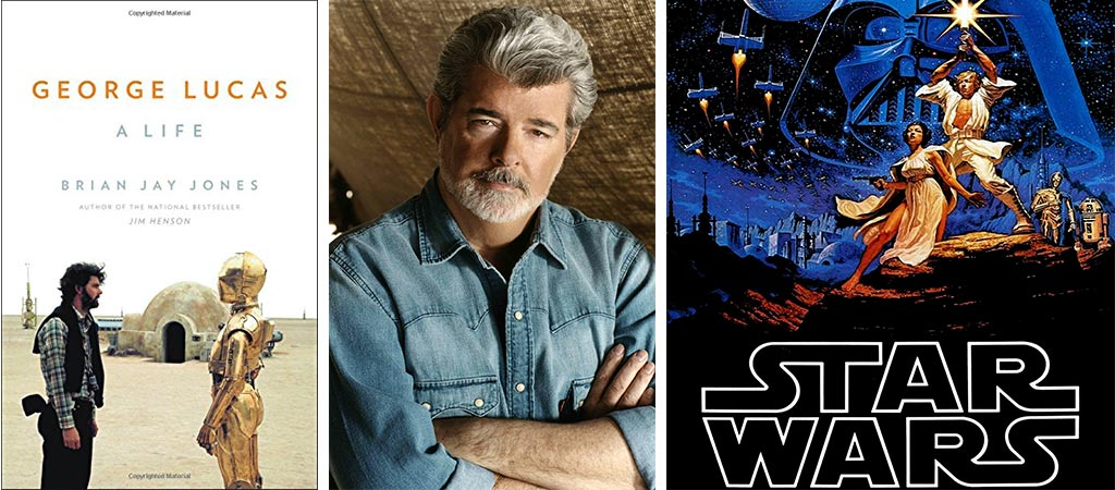Front cover of George Lucas: A Life. Also a picture of George Lucas. And a Star Wars 1977 Movie Poster.
