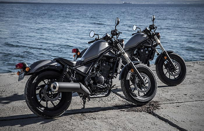 2017 Honda Rebel Cruisers in 500cc and 300cc at a Marina