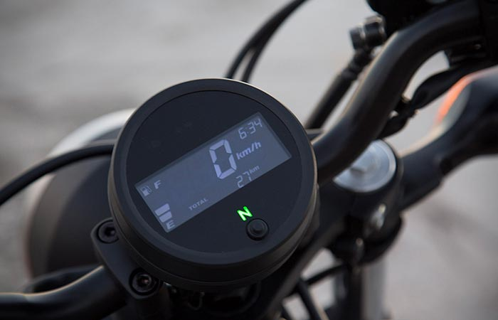 Close up of the 2017 Honda Rebel speedometer