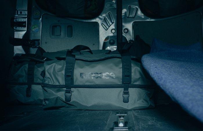 a duffel in a trunk