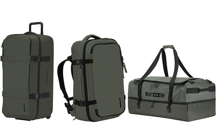 three different duffel bags from Incase