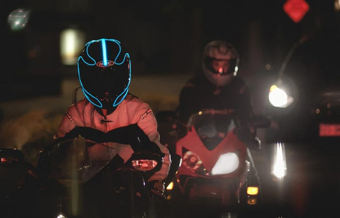 Lightmode Kit in aqua being worn on a helmet