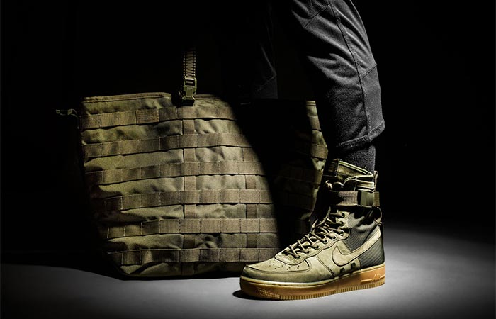 military inspired Nike shoes and a bag