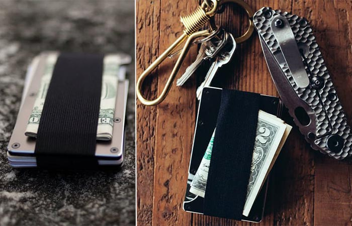 Two images of ridge wallet with elastic strap