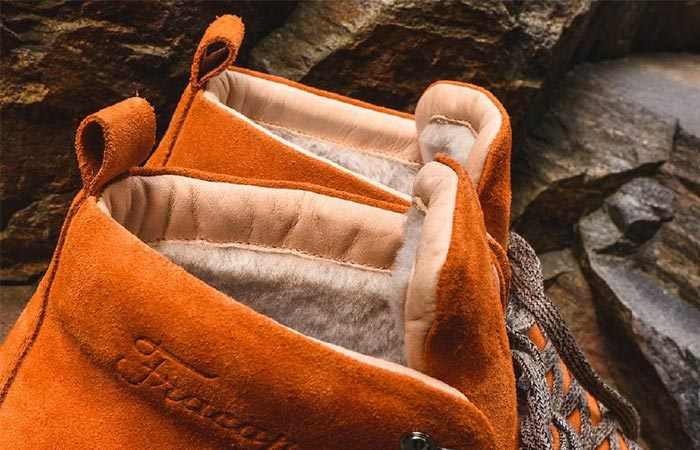 a detail of the hiking boots collar