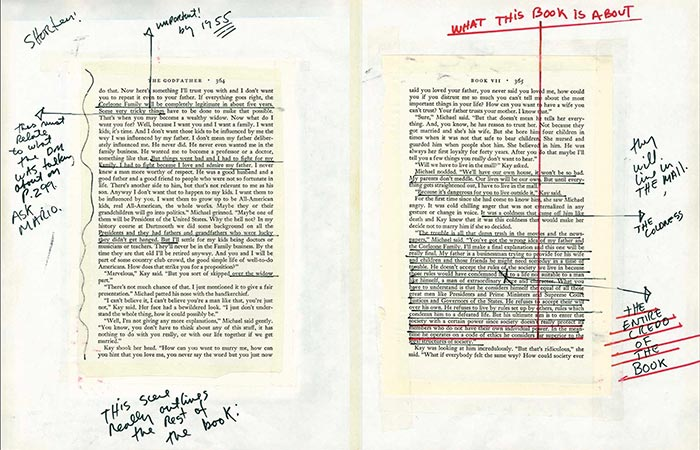 The Godfather Notebook side notes on a different page
