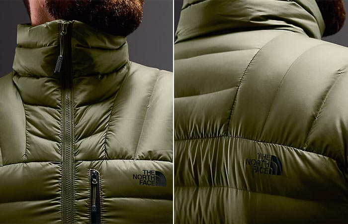 two images of a guy wearing a green winter jacket