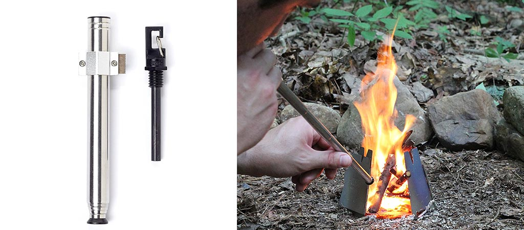 View of the Vargo Fire Starter with the rod out. Also, a picture of a man using the bellows to coax a fire.