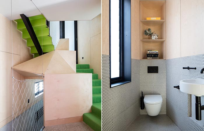 staircase and bathroom in Acute House