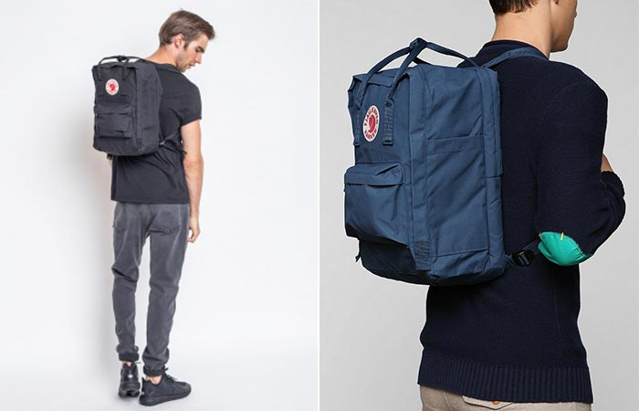 twoimages of guys wearing Fjallraven Kanken Laptop Backpack