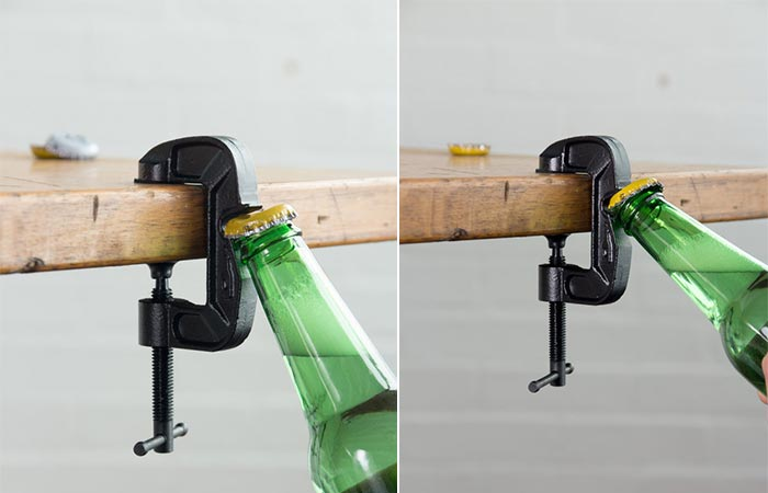 G-Clamp Bottle Opener opening a bottle
