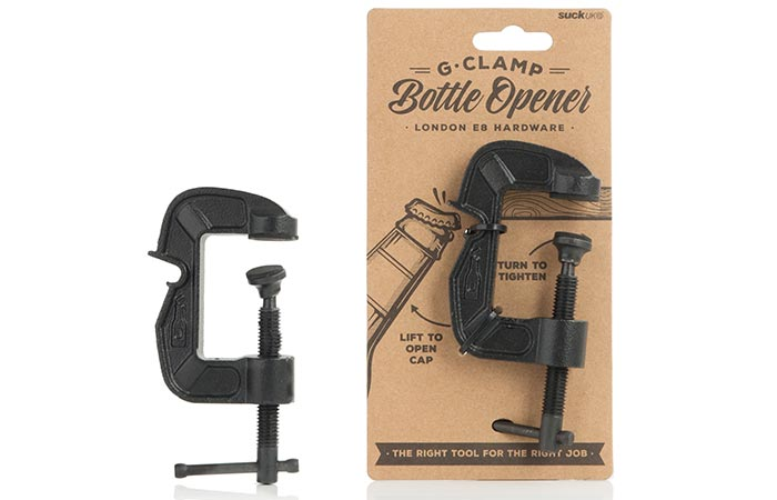 G-Clamp Bottle Opener with its packaging