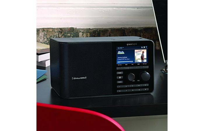 SiriusXM radio station on a counter