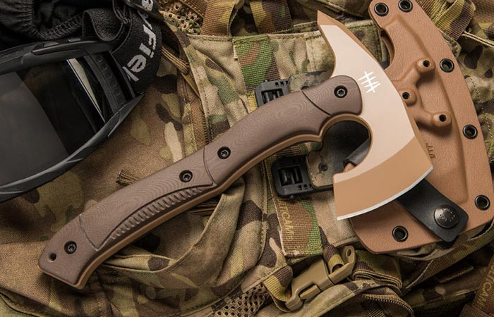 Hardcore Hardware Compact Tactical Tomahawk in tan with sheath