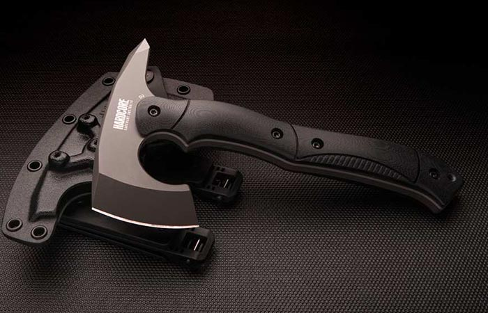 Hardcore Hardware Compact Tactical Tomahawk in black with sheath