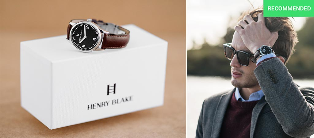 Henry Blake watch on its box and a man wearing one