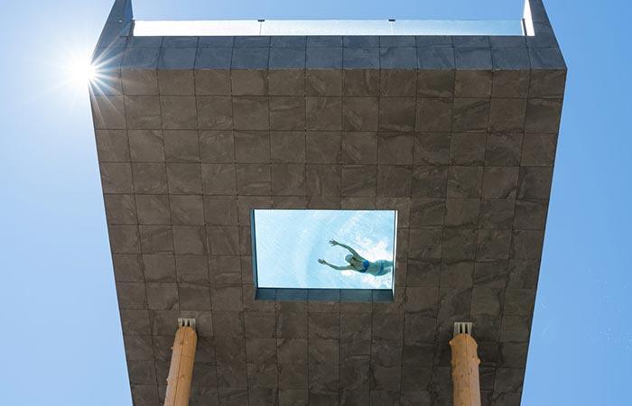 Hotel Hubertus Sky Pool bottom view