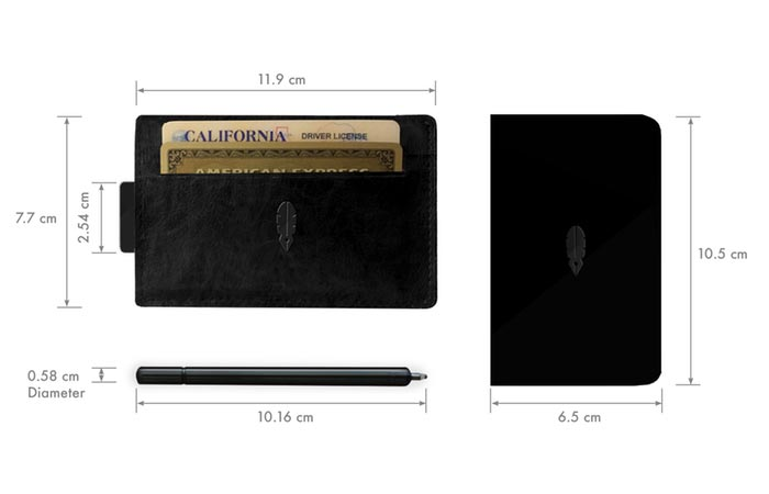 Dimensions of the Inscribe Wallet, notepad and pen