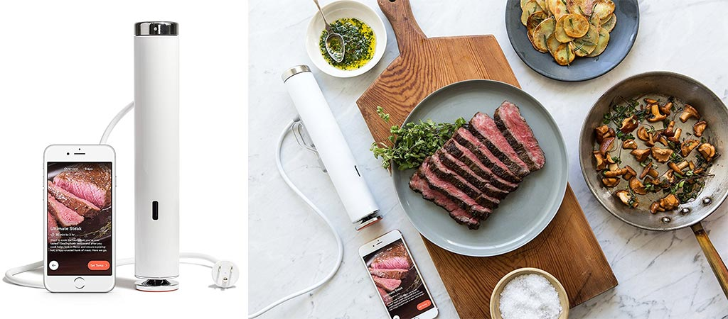 Joule Sous Vide with the smartphone app. Also a picture of a perfectly cooked meal with the Joule Sous Vide next to it.
