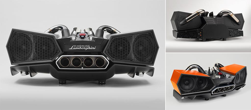 Three different views of the Lamborghini X Ixoost esavox sound system