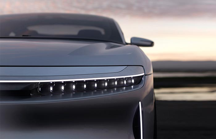 Lucid Motors Air front view of the light