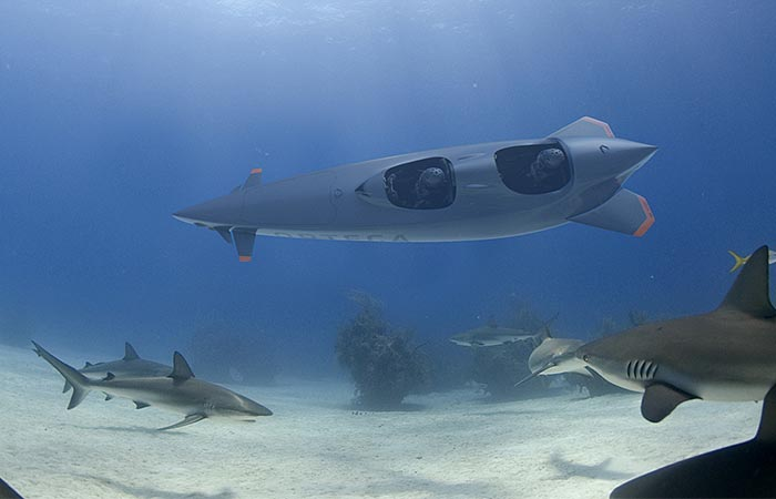 Ortega Submersibles Mk.1B model underwater with sharks
